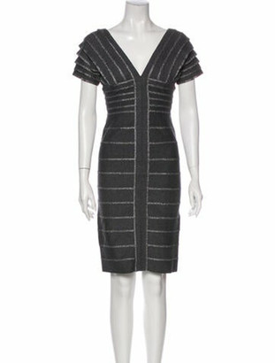 Herve Leger V-Neck Mini Dress w/ Tags Grey