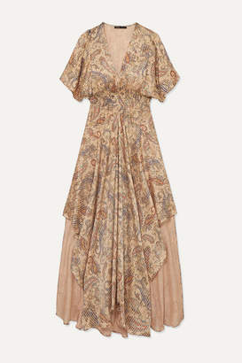 Maje Rachel Asymmetric Printed Devore-satin Dress - Beige