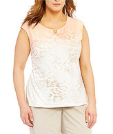 Calvin Klein Plus Cap Sleeve Neckline Detail Top
