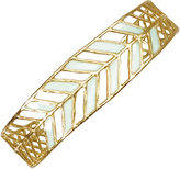 Mercedes Shaffer Thin Leaf Cuff Bracelet in 24K Gold-Plated and Enameled Bronze