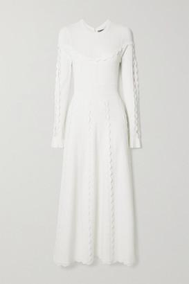 Lela Rose Pointelle-trimmed Cutout Stretch-knit Midi Dress - Ivory