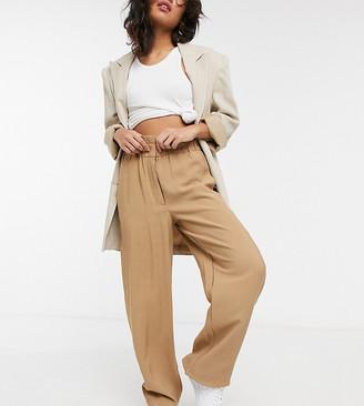 Vila Petite wide leg pants with paperbag waist in camel