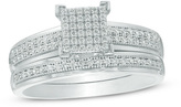 Zales 1/4 CT. T.W. Square Composite Diamond Vintage-Style Bridal Set in 10K White Gold