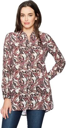 Foxcroft Women's Long Sleeve Jade Whimsical Paisley Tunic