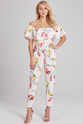 Girls On Film Rita Floral-Print Bardot Jumpsuit
