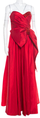 Marchesa Red Embellished Trim Bow detail Strapless Gown M