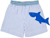 Florence Eiseman Boy's Striped Seersucker Swim Trunks w/ Shark, Size 4T-3