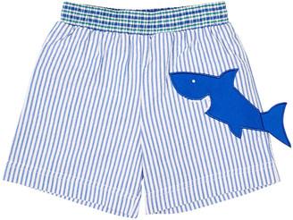 Florence Eiseman Boy's Striped Seersucker Swim Trunks w/ Shark, Size 4T-3