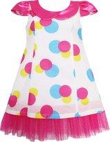 Sunny Fashion FM95 Girls Dress Turn-Down Collar Lace Trim Polka Dot