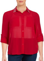 MICHAEL Michael Kors Plus Studded Button-Front Blouse