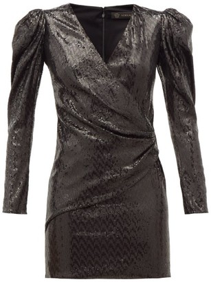 Versace Padded-shoulder Sequinned Mini Dress - Black