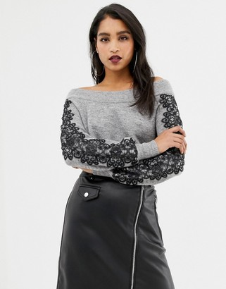 Lipsy off shoulder sweater with lace sleeve detail in gray