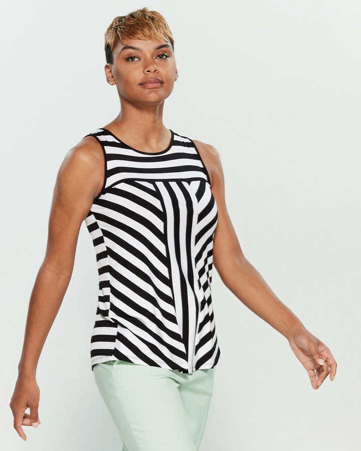 Cable & Gauge Striped Scoop Neck Sleeveless Top