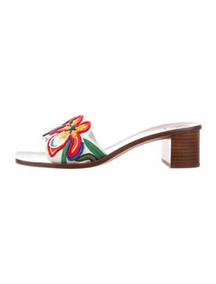 Tory Burch Leather Floral Print Slides White