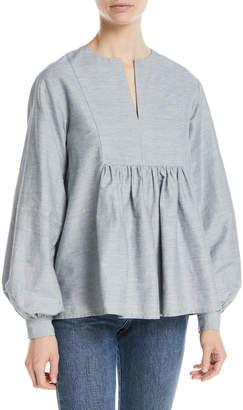 Co Split-Neck Bib Blouson-Sleeve Slub Linen Tunic