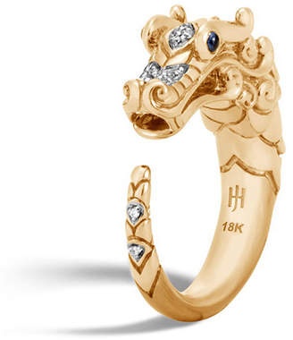 John Hardy Legends Naga 18k Brushed Gold Ring with Diamonds, Size 6