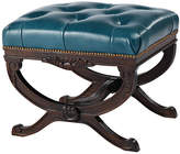 Massoud Furniture Stafford Tufted Ottoman - Teal Leather
