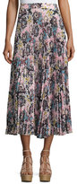 A.L.C. Williams Pleated Floral Midi Skirt, Blue/Mustard
