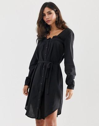 Vila square neck belted dress-Black
