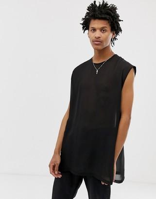 Asos DESIGN oversized super longline sleeveless t-shirt with side splits in sheer woven fabric