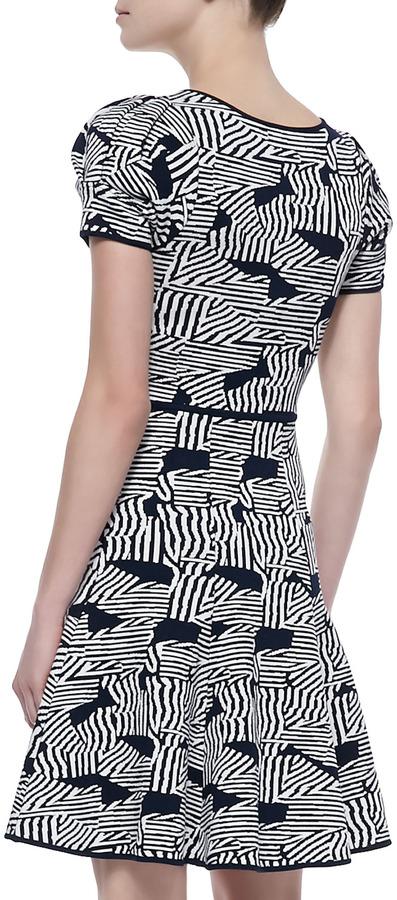 Zac Posen Short-Sleeve Knit Fit & Flare Dress, Ink/Ivory