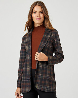 Le Château Check Print Ponte Knit Notch Collar Blazer