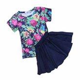 Kids Tales Girl's Skirt Set Flower Short T-shirt Summer 2pc Outfits