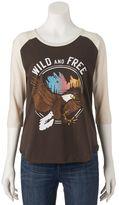 "Juniors' WKND ""Wild And Free"" Raglan Baseball Graphic Tee"