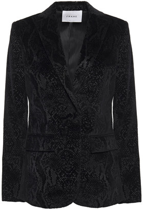 Frame Snake-print Stretch-cotton Velvet Blazer