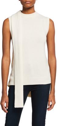 Halston Ilia Wool-Cashmere Sleeveless Wrap Sweater