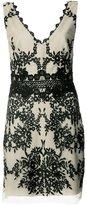 Nicole Miller embroidered V-neck dress - women - Polyester - 8