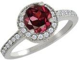 Gem Stone King 1.30 Ct Round Red Rhodolite Garnet White Diamond 14K White Gold Ring