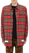 Off-White Men's Frayed Checked Wool-Cotton Shirt