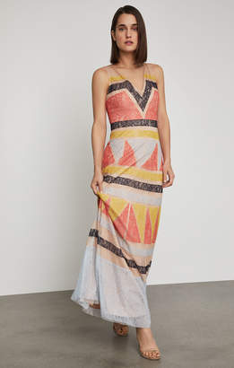 BCBGMAXAZRIA Colorblocked Lace Maxi Dress