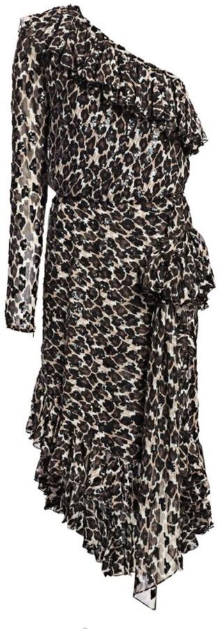Amen One-Shoulder Silk Ruffle Dress