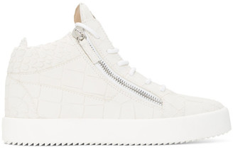 Giuseppe Zanotti White Kriss Croco High-Top Sneakers