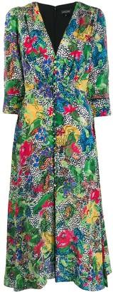 Saloni floral V-neck dress