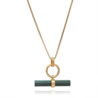 Protection T-Bar Gold & Malachite Necklace
