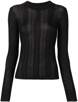 Barrie Lace Panel Fitted Sweater