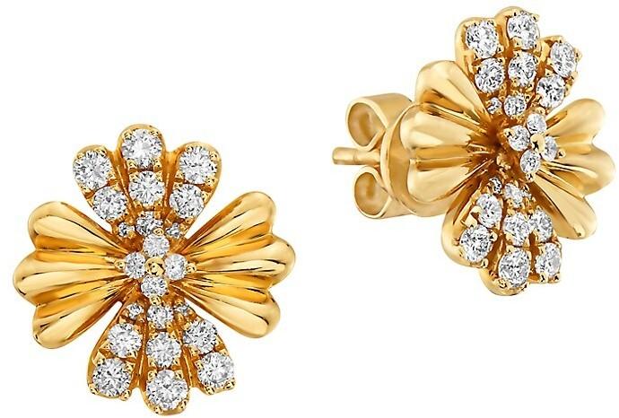 Star Starfish Flower Sterling Silver Black Diamond Earrings Dangling Effy New