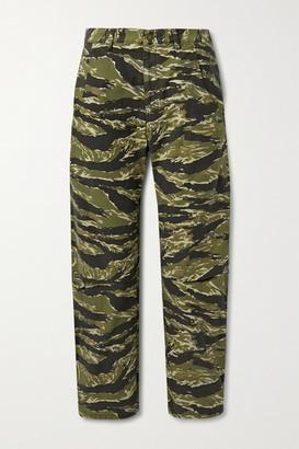 Nili Lotan Emerson Printed Cotton-canvas Straight-leg Pants - Army green