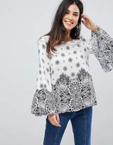 AX Paris Bell Sleeve Border Print Top
