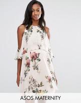 Asos Floral Mini Dress With Extreme Cold Shoulder