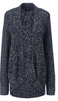 Classic Women's Petite Drifter Cable Cardigan Sweater-Radiant Navy Marl