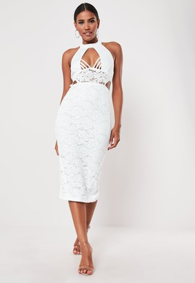 Missguided White Lace Halterneck Midi Dress