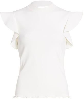 Akris Punto Flounce-Sleeve Cutout Knit Top