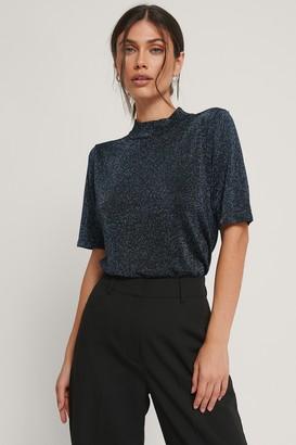 NA-KD Short Sleeve Glitter Knitted Sweater