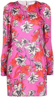 Black Coral Floral-Print Mini Dress