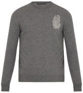 Alexander Mcqueen Feather-appliqué Wool And Cashmere-blend Sweater