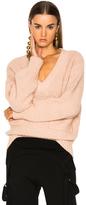 Chloé Chunky Stitch V-Neck Sweater in Pink.